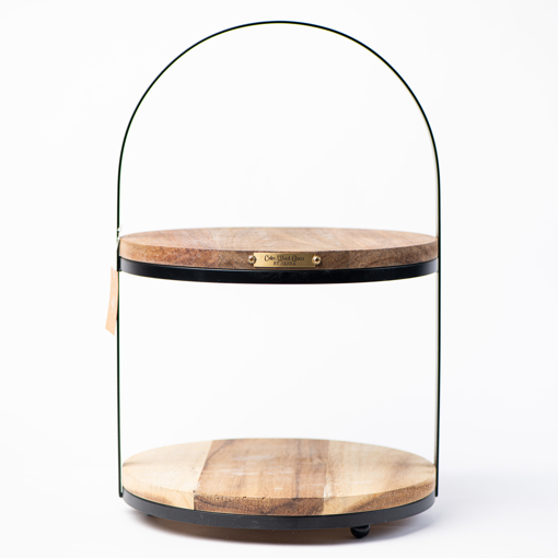 Picture of Black Two Tier Natural Wood Serving Stand