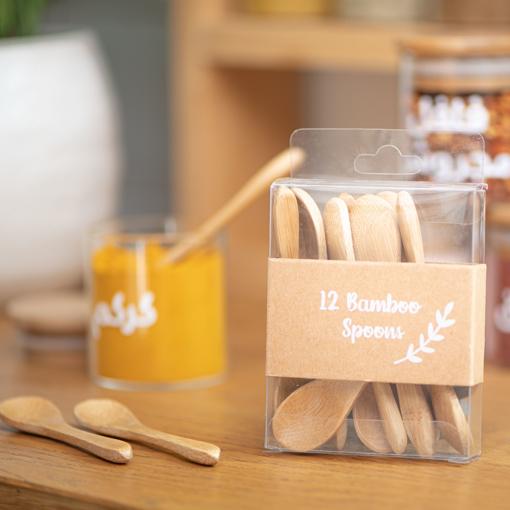 صورة ملاعق خشبية صغيرة للبهارات ١٢ ملعقة