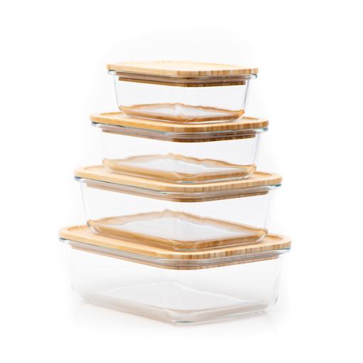 صورة حافظة طعام مستطيلة بغطاء خشب البامبو - حجم كبير