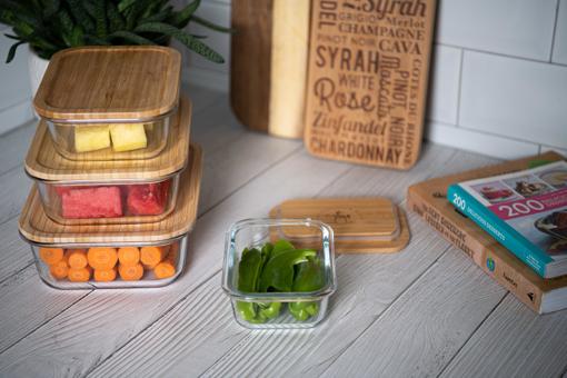 صورة  حافظة طعام مستطيلة بغطاء خشب البامبو - حجم صغير جدا