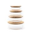 صورة حافظة طعام دائرية بغطاء خشب البامبو - مجموعة  كاملة