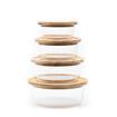 صورة حافظة طعام دائرية بغطاء خشب البامبو - الحجم الوسط