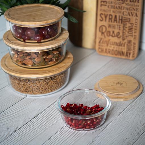 صورة  حافظة طعام دائرية بغطاء خشب البامبو - الحجم الصغير جدا