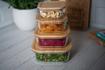 صورة حافظة طعام مربعة بغطاء خشب البامبو - حجم كبير