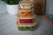 صورة حافظة طعام مربعة بغطاء خشب البامبو - حجم وسط