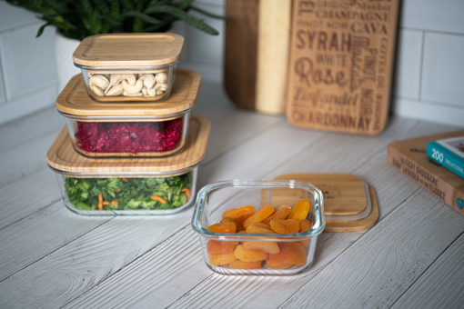 صورة حافظة طعام مربعة بغطاء خشب البامبو - حجم صغير
