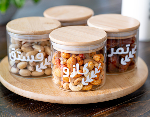 Picture of Nuts Set - Natural Wood Lid Jars With Rotary Tray