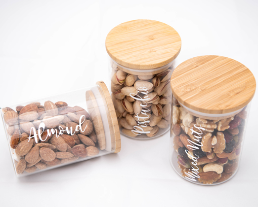 Picture of Nuts Set - Natural wood lid jars