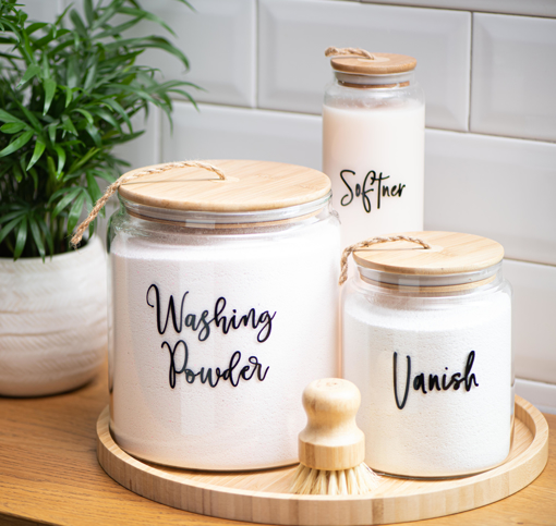 Picture of Airtight glass Jar 2 Liters - Natural Wood Lid