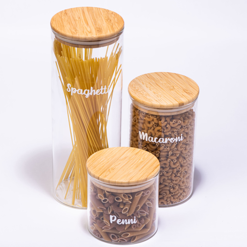 Picture of Set Of Three Glass Jars - 3 Sizes -  Bambo Lid