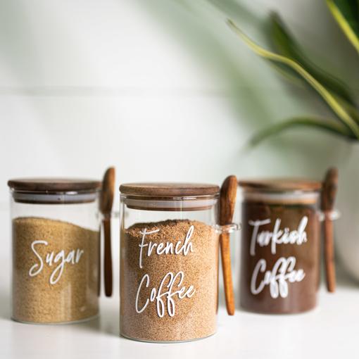 صورة طقم محبي القهوة - غطاء بني داكن